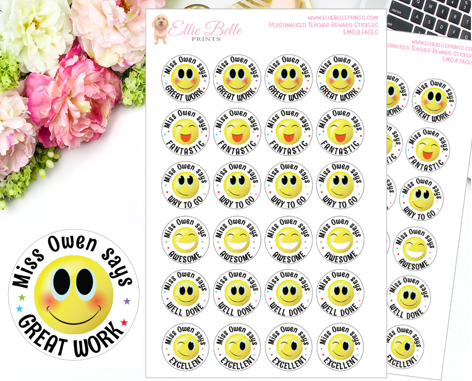 Emoji - Personalised Teacher Reward Stickers