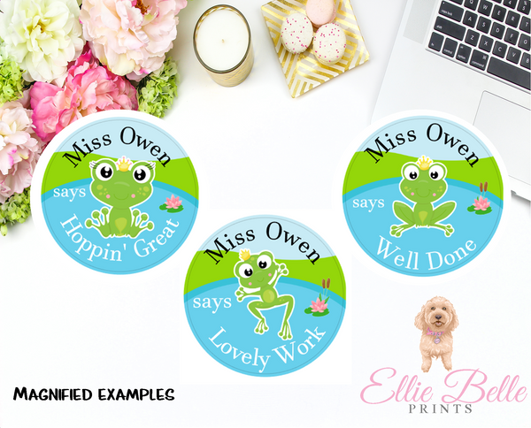Frogs - Personalised Teacher Reward Stickers