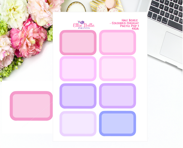 Half Box With Coloured Overlay Stickers - Pastel Pop