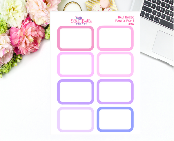 Half Box With White Overlay Stickers - Pastel Pop