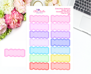 Scalloped Quarter Box With Coloured Overlay Stickers - Pastel Pop
