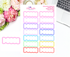Scalloped Quarter Box With White Overlay Stickers - Pastel Pop