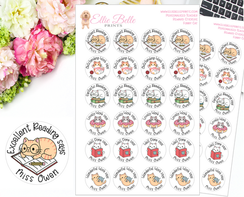 Funny Cat - Personalised Teacher Reward Stickers