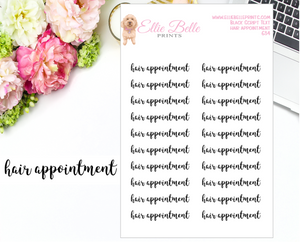 Hair Appointment - Script Stickers