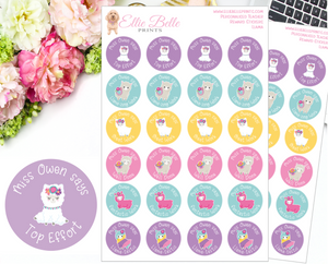 Llama - Personalised Teacher Reward Stickers