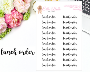 Lunch Order - Script Stickers