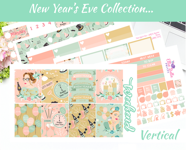 New Years Eve - Vertical Weekly Planner Kit [326]