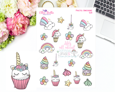 Pastel Unicorn Stickers