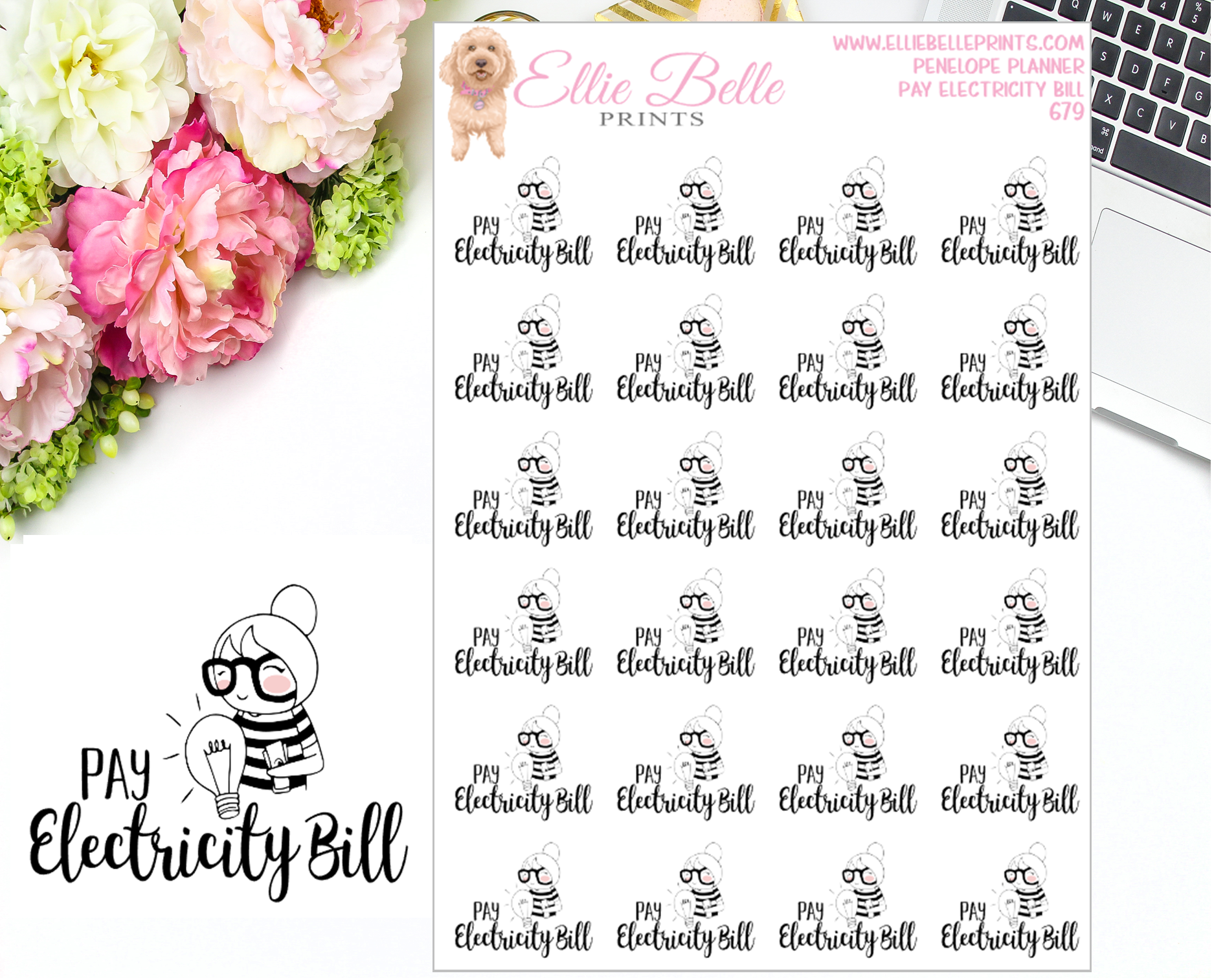Pay Electricity Bill Stickers - Penelope Planner