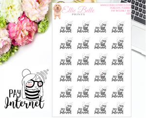 Pay Internet Bill Stickers - Penelope Planner
