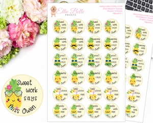 Pineapple 1 - Personalised Teacher Reward Stickers