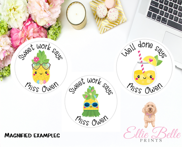 Pineapple 2 - Personalised Teacher Reward Stickers