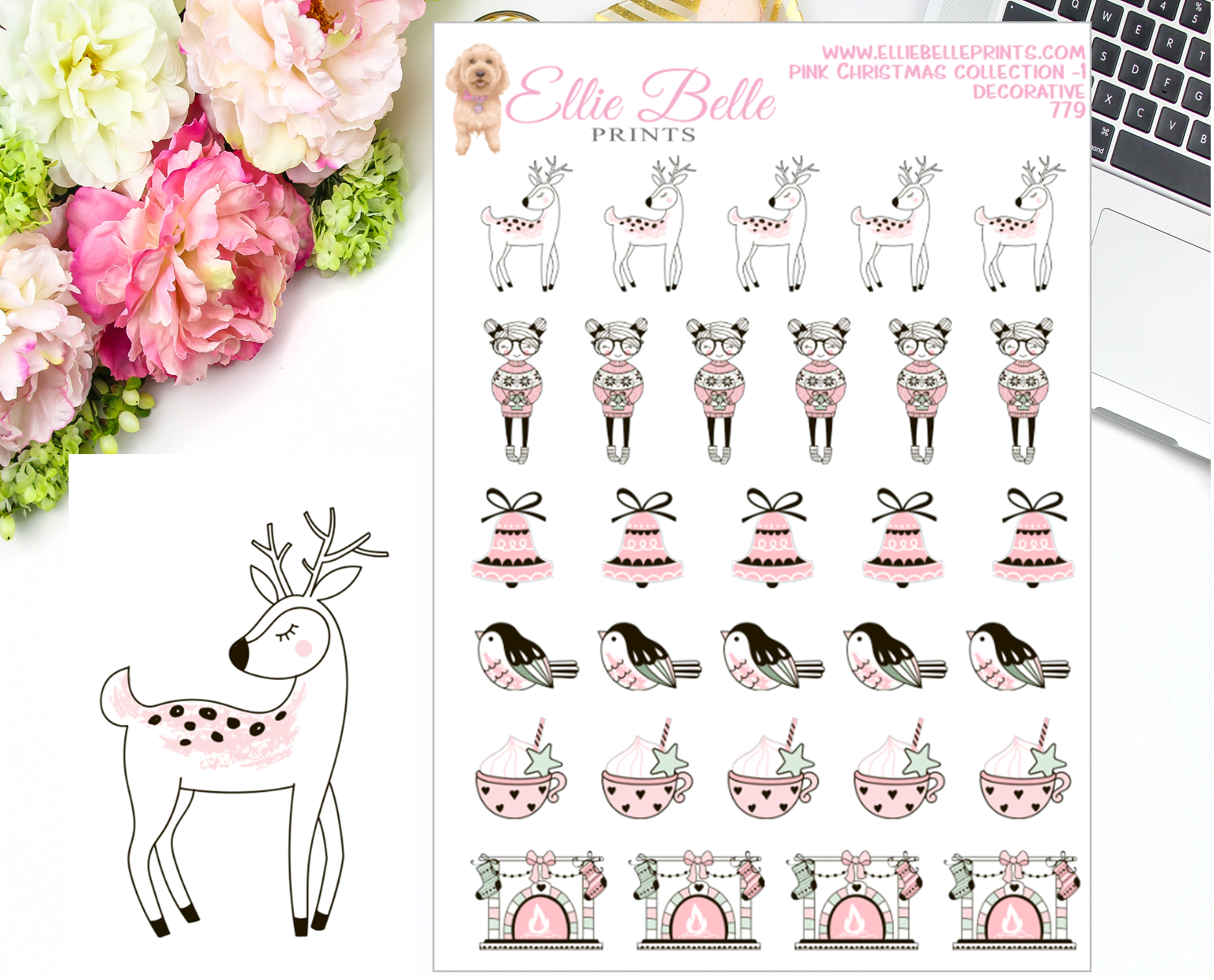 Pink Christmas Collection 1 Decorative Stickers