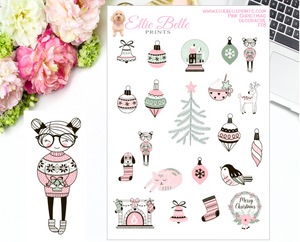 Pink Christmas Collection Decorative Stickers