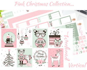Pink Christmas - Vertical Weekly Planner Kit