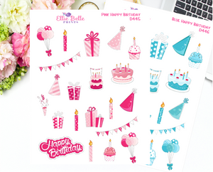 Pink and Blue Happy Birthday Decorative Stickers