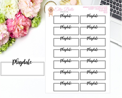 Playdate Quarter Box with Text - Text Boxes