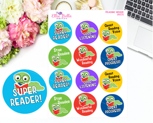 Reading Worm Teacher Stickers