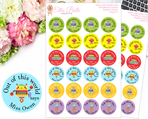 Robots 2 - Personalised Teacher Reward Stickers