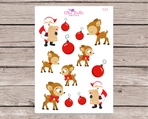 Santa and Reindeer Stickers