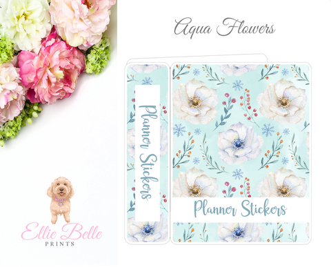 MINI Sticker Album (Small Sheets) - Aqua Flowers