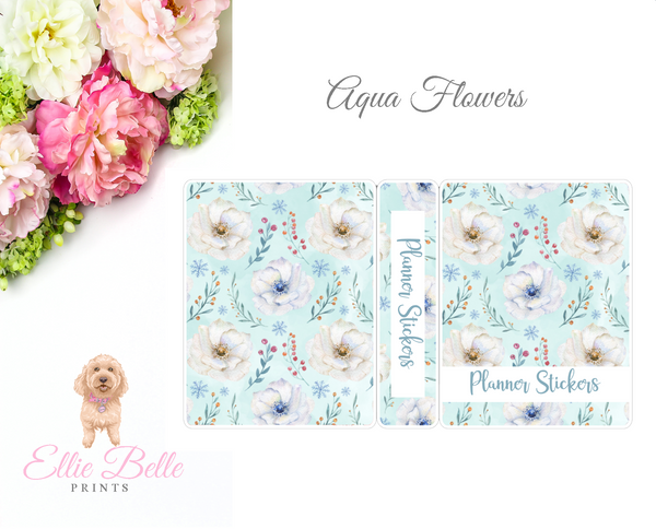 JUMBO Sticker Album (Sticker Kits) - Aqua Flowers