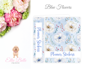 MINI Sticker Album (Small Sheets) - Blue Flowers