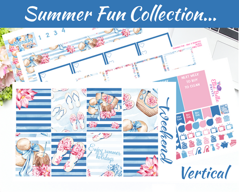 Summer Fun Collection - Vertical Weekly Planner Kit [400]