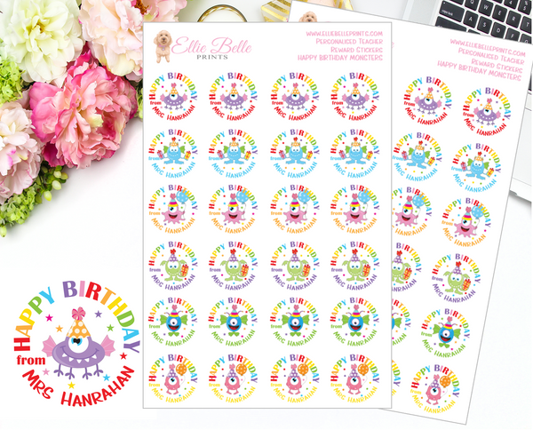 Happy Birthday - Personalised Teacher Reward Stickers