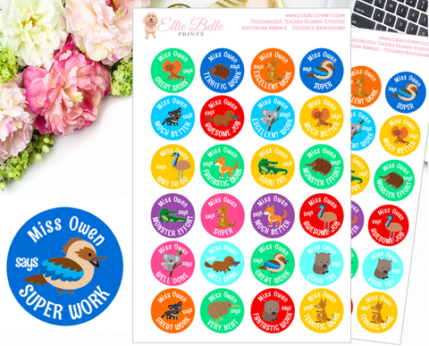 AUSTRALIAN ANIMALS (Coloured Background) - Personalised Teacher Reward Stickers