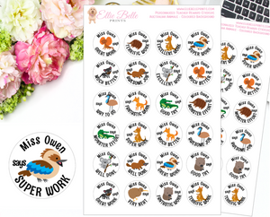 AUSTRALIAN ANIMALS  (White Background) - Personalised Teacher Reward Stickers