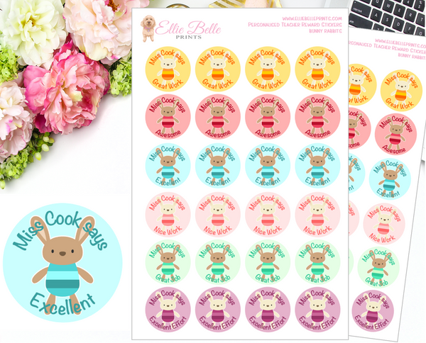 BUNNY RABBIT (Coloured Background) - Personalised Teacher Reward Stickers