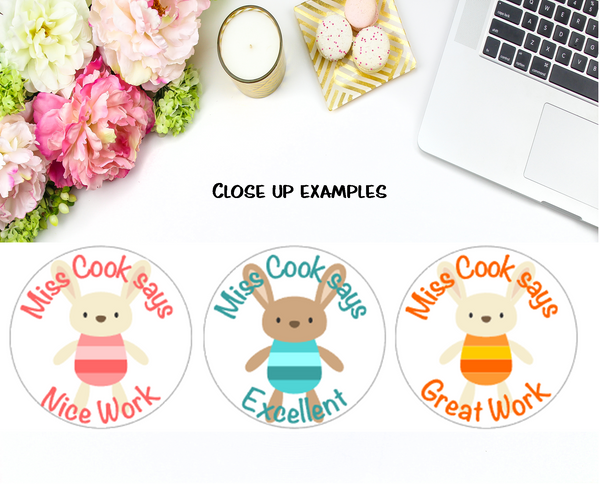 BUNNY RABBIT (White Background) - Personalised Teacher Reward Stickers