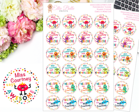 CONFETTI LITTLE MONSTERS - Personalised Teacher Reward Stickers