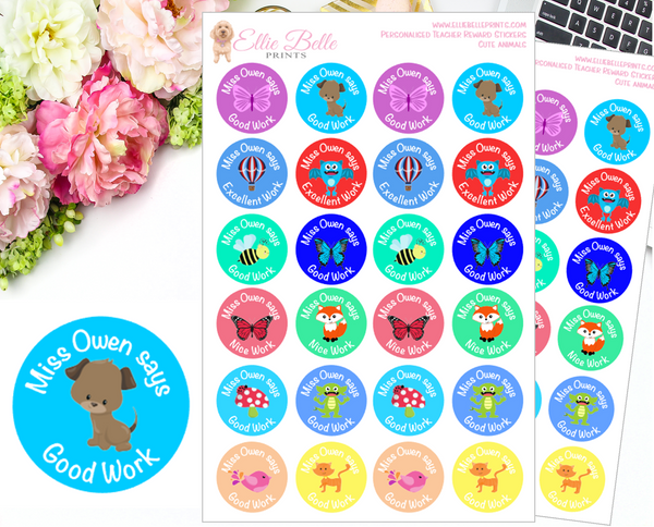 MULTI ANIMAL - Personalised Teacher Reward Stickers ( NSW Foundation Font)