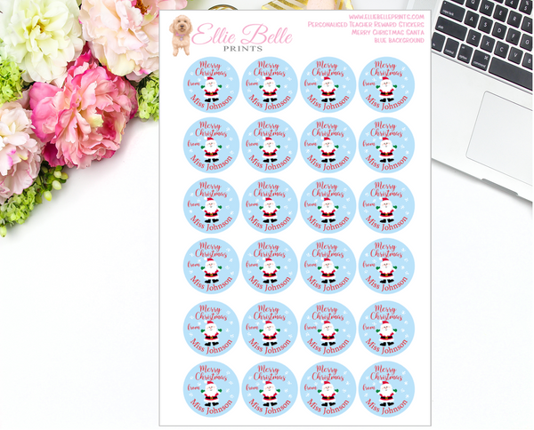 Merry Christmas Santa  - Personalised Teacher Reward Stickers