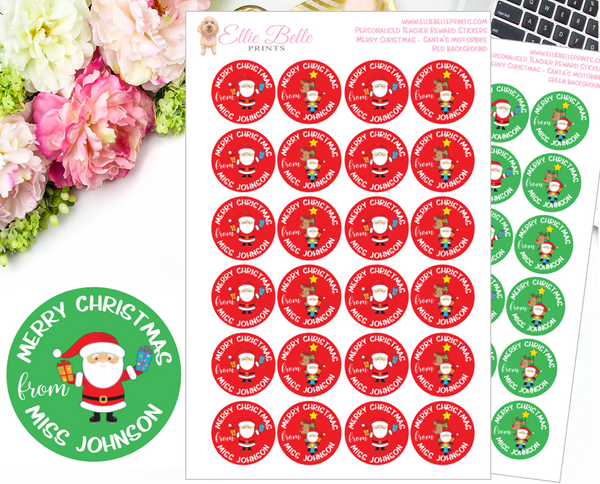 Merry Christmas Santa's Motorbike  - Personalised Teacher Reward Stickers