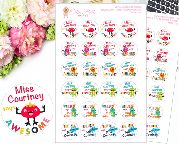 LITTLE MONSTERS - Personalised Teacher Reward Stickers