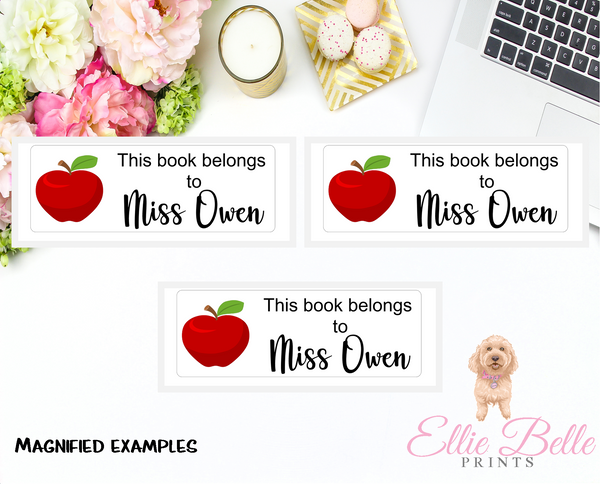 This book belongs to Stickers - Apples Rectangle - Personalised Teacher Stickers