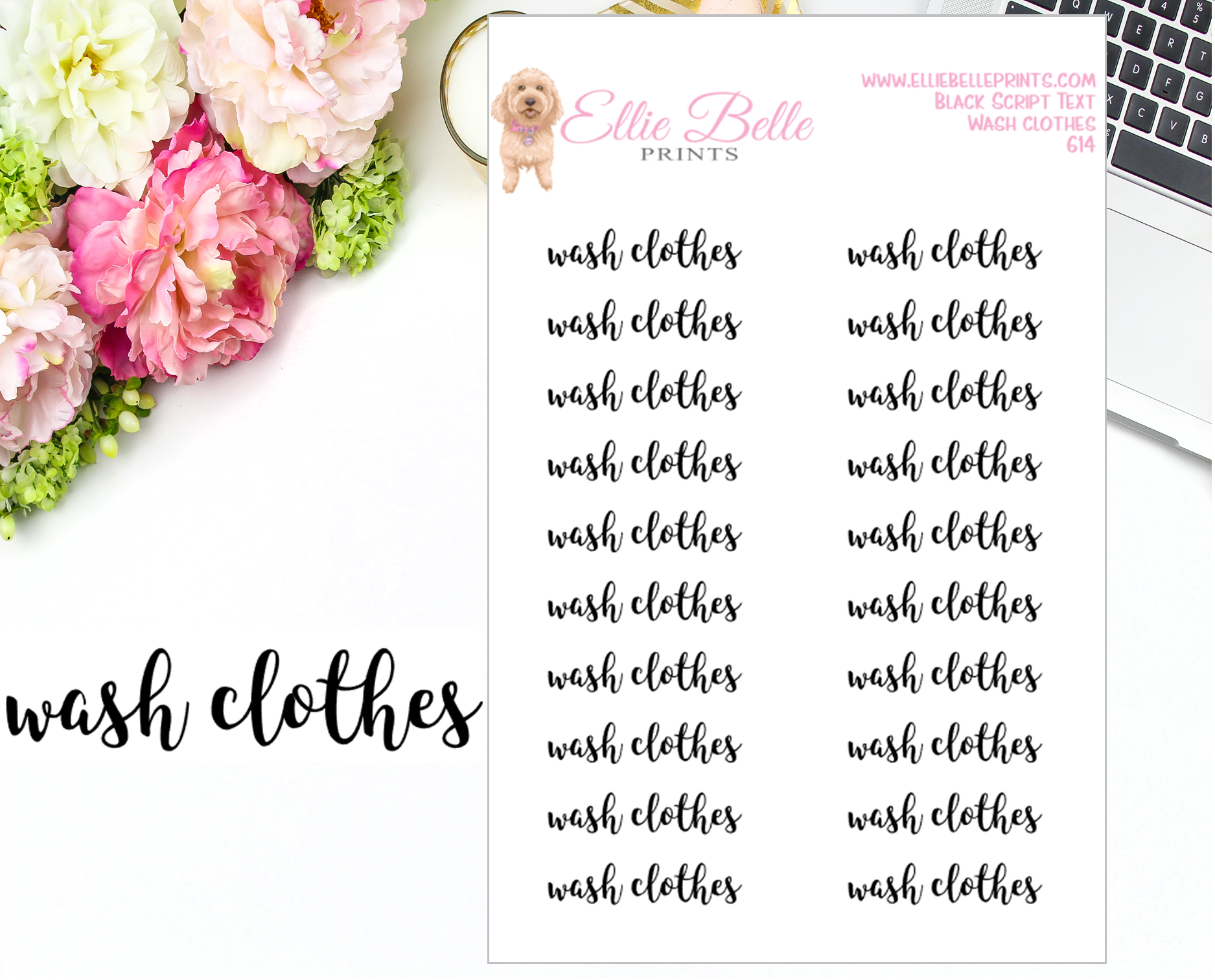 Wash Clothes - Script Stickers