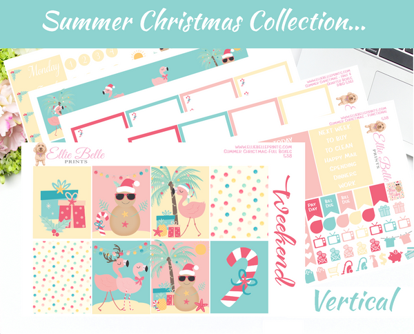 Summer Christmas - Vertical Weekly Planner Kit