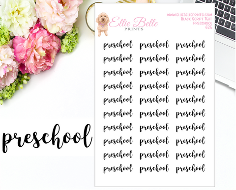 Preschool - Script Stickers