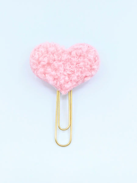 Pink Heart Teddy Fabric Planner Clips