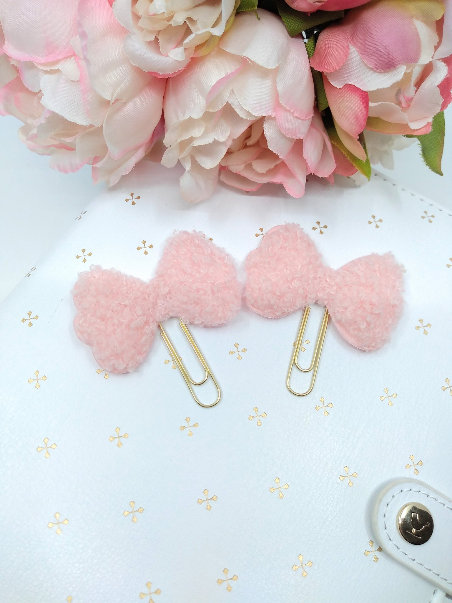 Pink Bow Teddy Fabric Planner Clips
