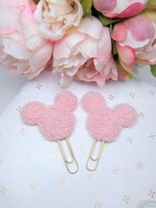 Pink Mouse Teddy Fabric Planner Clips