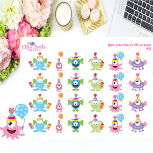 Birthday Party Monster Stickers