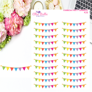 Rainbow Party Banner Stickers