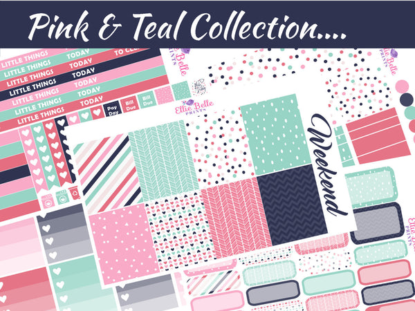 PINK & TEAL COLLECTION - Vertical Weekly Planner Kit [053]
