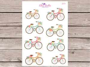 Bicycle & Flower Decorative Stickers
