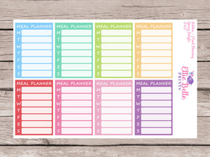 Weekly Meal Planning Stickers - Sidebar Tracker [242]